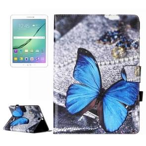 For Samsung Galaxy Tab S2 9.7 / T815  Blue ButterflyPattern Horizontal Flip Leather Case with Holder & Card Slots & Wallet