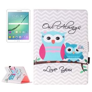 For Samsung Galaxy Tab S2 9.7 / T815 Wave Stripes Owls Pattern Horizontal Flip Leather Case with Holder & Card Slots & Wallet
