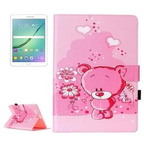 For Samsung Galaxy Tab S2 9.7 / T815 Pink love Bear Pattern Horizontal Flip Leather Case with Holder & Card Slots & Wallet