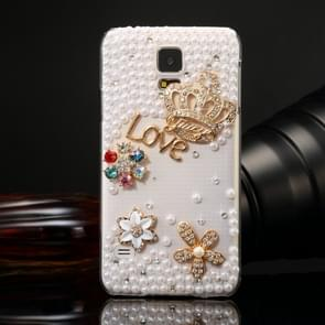Fevelove for Samsung Galaxy S5 / G900 Diamond Encrusted Bling Crown Pattern PC Protective Case Back Cover