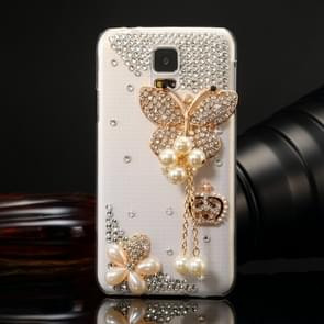 Fevelove for Samsung Galaxy S5 / G900 Diamond Encrusted Pearl Butterfly Pattern PC Protective Case Back Cover