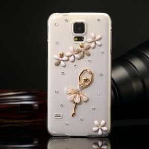 Fevelove for Samsung Galaxy S5 / G900 Diamond Encrusted Lovely Dancing Girl Pattern PC Protective Case Back Cover