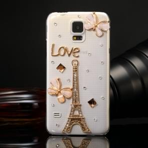 Fevelove for Samsung Galaxy S5 / G900 Diamond Encrusted Tower Pattern PC Protective Case Back Cover