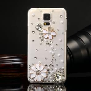 Fevelove for Samsung Galaxy S5 / G900 Diamond Encrusted Pearl Flower Pattern PC Protective Case Back Cover