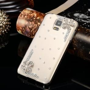 Fevelove for Samsung Galaxy S5 / G900 Diamond Encrusted Edge Piping Flower Pattern PC Protective Case Back Cover