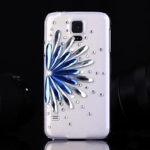 Fevelove for Samsung Galaxy S5 / G900 Diamond Encrusted Blue and White Flower Pattern PC Protective Case Back Cover