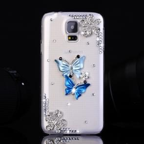 Fevelove for Samsung Galaxy S5 / G900 Diamond Encrusted Twin Butterflies Pattern PC Protective Case Back Cover