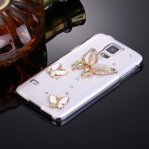 Fevelove for Samsung Galaxy S5 / G900 Diamond Encrusted Three Butterflies Pattern PC Protective Case Back Cover