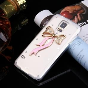 Fevelove for Samsung Galaxy S5 / G900 Diamond Encrusted Bowknot Pattern PC Protective Case Back Cover