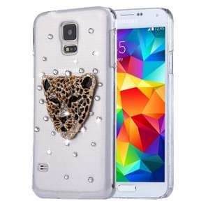 Fevelove for Samsung Galaxy S5 / G900 Diamond Encrusted Leopard Head Pattern PC Protective Case Back Cover