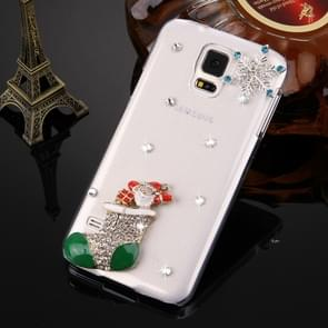 Fevelove for Samsung Galaxy S5 / G900 Diamond Encrusted Christmas Santa Boots Pattern PC Protective Case Back Cover
