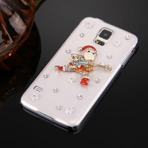 Fevelove for Samsung Galaxy S5 / G900 Diamond Encrusted Christmas Santa Claus Pattern PC Protective Case Back Cover