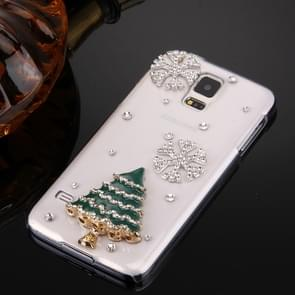 Fevelove for Samsung Galaxy S5 / G900 Diamond Encrusted Christmas Tree Pattern PC Protective Case Back Cover