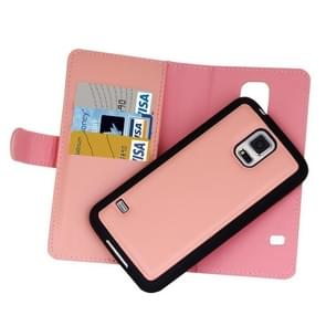 For Samsung Galaxy S5 Plain Weave Texture Zipper Horizontal Flip Leather Case with Detachable Back Protective Case & Card Slots & Wallet(Pink)
