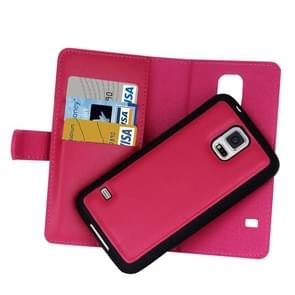 For Samsung Galaxy S5 Plain Weave Texture Zipper Horizontal Flip Leather Case with Detachable Back Protective Case & Card Slots & Wallet(Magenta)