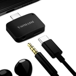 YAOMAISI 3 in1 Laad / Listen / Call Type-C Audio Converter, Voor Samsung Galaxy S8 & S8 + / LG G6 / Huawei P10 & P10 Plus / Xiaomi Mi 6 & Max 2 en other Smartphones(zwart)