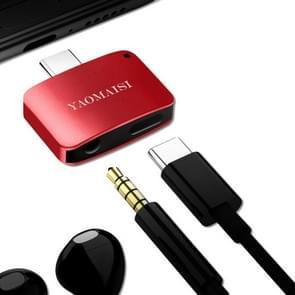 YAOMAISI 3 in1 Laad / Listen / Call Type-C Audio Converter, Voor Samsung Galaxy S8 & S8 + / LG G6 / Huawei P10 & P10 Plus / Xiaomi Mi 6 & Max 2 en other Smartphones(rood)