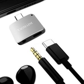 YAOMAISI 3 in1 Laad / Listen / Call Type-C Audio Converter, Voor Samsung Galaxy S8 & S8 + / LG G6 / Huawei P10 & P10 Plus / Xiaomi Mi 6 & Max 2 en other Smartphones(zilver)