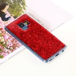 Voor Samsung Galaxy S9 Glitter Powder Soft TPU beschermings hoesje(rood)