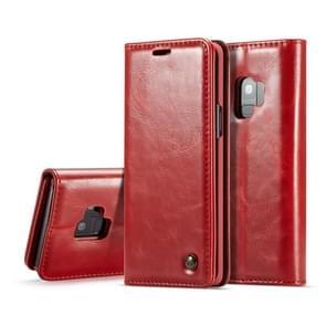 hoesjeMe-003 voor Samsung Galaxy S9 PU + PC  Style Crazy Horse structuur horizontaal Flip lederen hoesje met houder & opbergruimte voor pinpassen & portemonnee(rood)