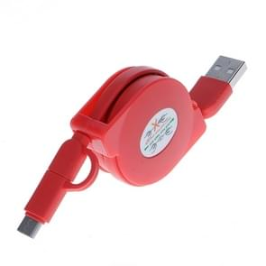 1m 2A Two in One Retractable Micro USB to USB-C / Type-C Data Sync Charging Cable for  Galaxy, Huawei, Xiaomi, LG, HTC and Other Smart Phones, Rechargeable Devices(Red)