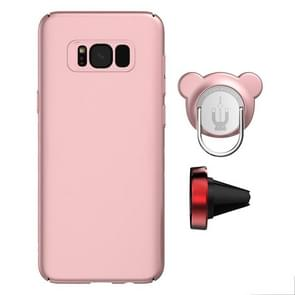 AIQAA For Samsung Galaxy S8 PC Dual-purpose Magnetic Protective Case with Ring Holder & Car Air Outlet Vent Holder(Rose Gold)