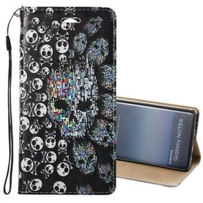 For Samsung Galaxy Note 8 3D Relief Skull Pattern Magnetic Adsorption Horizontal Flip Leather Case with Holder & Card Slots & Lanyard