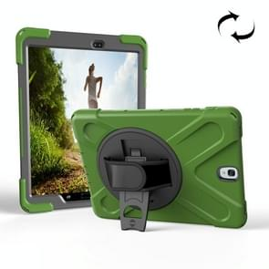 For Samsung Galaxy Tab S3 9.7 inch T820 360 Degree Rotation PC + Silicone Protective Case with Holder & Hand-strap(Army Green)