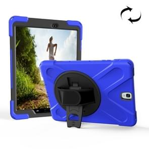 For Samsung Galaxy Tab S3 9.7 inch T820 360 Degree Rotation PC + Silicone Protective Case with Holder & Hand-strap (Dark Blue)