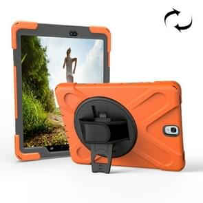 For Samsung Galaxy Tab S3 9.7 inch T820 360 Degree Rotation PC + Silicone Protective Case with Holder & Hand-strap (Orange)