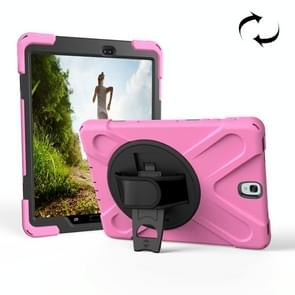 For Samsung Galaxy Tab S3 9.7 inch T820 360 Degree Rotation PC + Silicone Protective Case with Holder & Hand-strap (Pink)