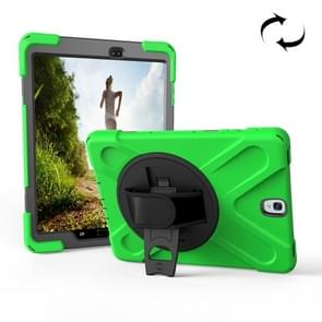 For Samsung Galaxy Tab S3 9.7 inch T820 360 Degree Rotation PC + Silicone Protective Case with Holder & Hand-strap (Green)