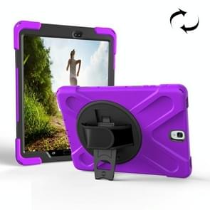For Samsung Galaxy Tab S3 9.7 inch T820 360 Degree Rotation PC + Silicone Protective Case with Holder & Hand-strap (Purple)