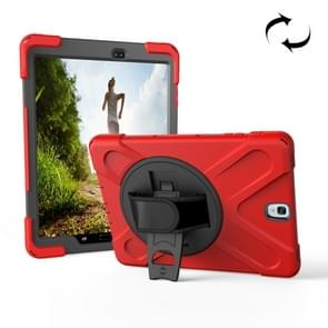 For Samsung Galaxy Tab S3 9.7 inch T820 360 Degree Rotation PC + Silicone Protective Case with Holder & Hand-strap (Red)