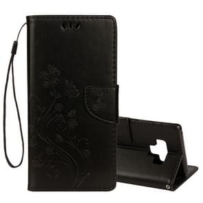 Embossed Butterfly Pattern Horizontal Flip Leather Case with Card Slot & Holder & Wallet & Lanyard For Galaxy Note9(Black)