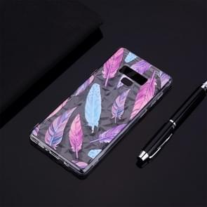 Colorful Feather Pattern Diamond Texture TPU Protector Back Cover Case for Galaxy Note9