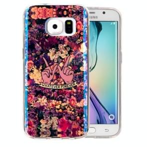 For Samsung Galaxy S6 Edge / G925 IMD Colorful Flowers Pattern Blu-ray Soft TPU Protective Case