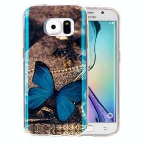For Samsung Galaxy S6 Edge / G925 IMD Blue Butterfly Pattern Blu-ray Soft TPU Protective Case