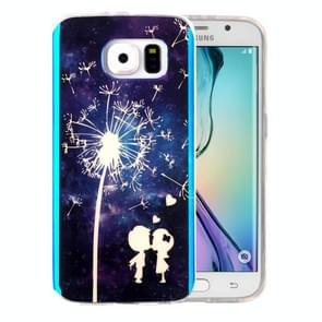 For Samsung Galaxy S6 Edge / G925 IMD Little Couple and Dandelion Pattern Blu-ray Soft TPU Protective Case