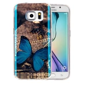 For Samsung Galaxy S6 Edge+ / G928 IMD Blue Butterfly Pattern Blu-ray Soft TPU Protective Case