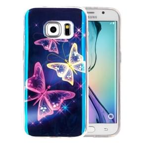 For Samsung Galaxy S6 Edge+ / G928 IMD Three Crystal Butterfly Pattern Blu-ray Soft TPU Protective Case