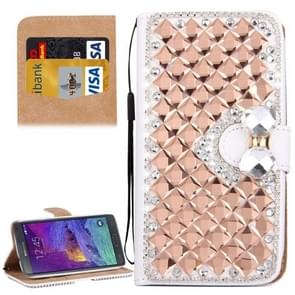 For Samsung Galaxy Note 4 / N910 Diamond Encrusted Bowknot Pattern Horizontal Flip Leather Case with Magnetic Buckle & Card Slots & Holder & Lanyard(Rose Gold)