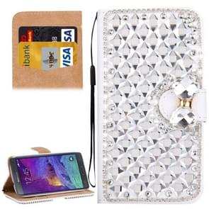 For Samsung Galaxy Note 4 / N910 Diamond Encrusted Bowknot Pattern Horizontal Flip Leather Case with Magnetic Buckle & Card Slots & Holder & Lanyard(Silver)
