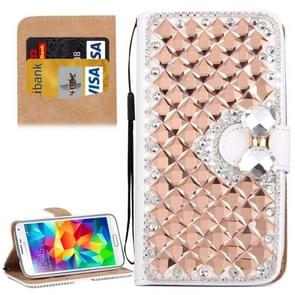 For Samsung Galaxy S5 / G900 Diamond Encrusted Bowknot Pattern Horizontal Flip Leather Case with Magnetic Buckle & Card Slots & Holder & Lanyard(Rose Gold)