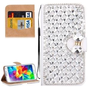 For Samsung Galaxy S5 / G900 Diamond Encrusted Bowknot Pattern Horizontal Flip Leather Case with Magnetic Buckle & Card Slots & Holder & Lanyard(Silver)