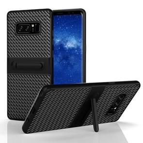 For Samsung Galaxy Note 8 PC Texture Protective Cover Back Case with Built-in Holder (Black)