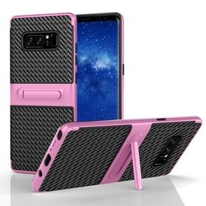 For Samsung Galaxy Note 8 PC Texture Protective Cover Back Case with Built-in Holder (Pink)