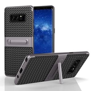 For Samsung Galaxy Note 8 PC Texture Protective Cover Back Case with Built-in Holder (Grey)
