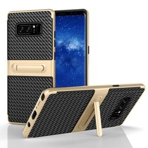 For Samsung Galaxy Note 8 PC Texture Protective Cover Back Case with Built-in Holder (Gold)