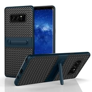 For Samsung Galaxy Note 8 PC Texture Protective Cover Back Case with Built-in Holder (Blue)